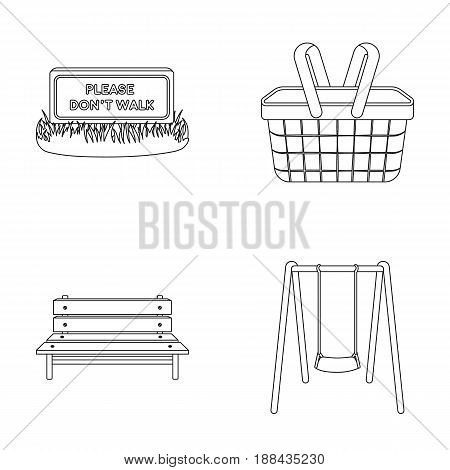 Lawn with a sign, a basket with food, a bench, a swing. Park set collection icons in outline style vector symbol stock illustration .