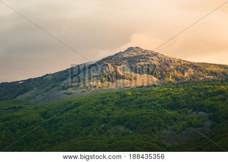 View of the summit of Kamen del peak in the Vitosha Mountain Sofia Bulgaria situated within the National Park a popular sporting destination in both summer and winter