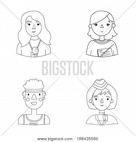 A journalist with a microphone with a badge, a teacher with a pointer in beads, a stewardess in a pilot's cap, an athlete with a bandage on her head.People of different professions set collection icons in outline style vector symbol stock illustration .