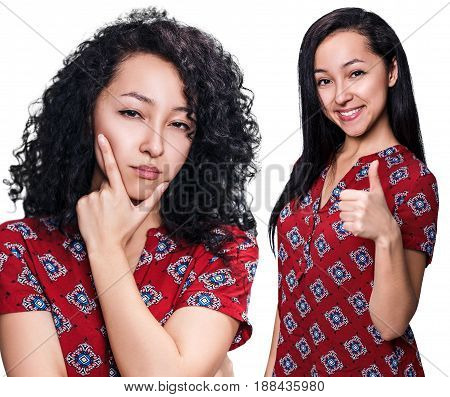 Young woman with black hair before and after straightening over white background