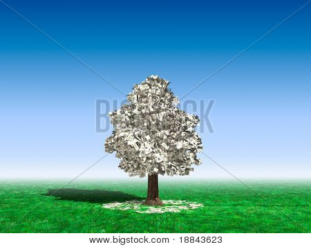Money tree in the middle of a field with hundred dollar bills growing on it and lying on green grass under it. Investment concept