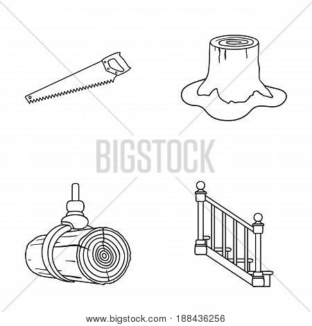 A hacksaw, a stump, a staircase with handrails, a beam. A sawmill and timber set collection icons in outline style vector symbol stock illustration .
