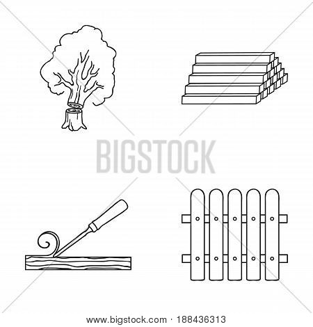 Wood, logs in a stack, chisel, fence. Lumber and timber set collection icons in outline style vector symbol stock illustration .