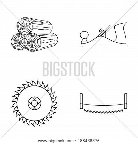 Logs in stacks, two-handed saws, circular saw. Sawmill and timber set collection icons in outline style vector symbol stock illustration .