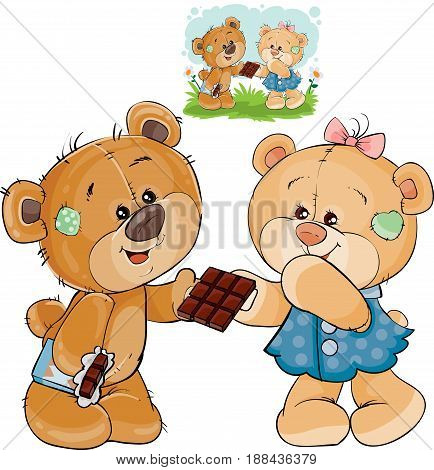 Vector illustration of a brown teddy bear sweet tooth unfurled a chocolate bar and gives it to his girlfriend. Print, template, design element
