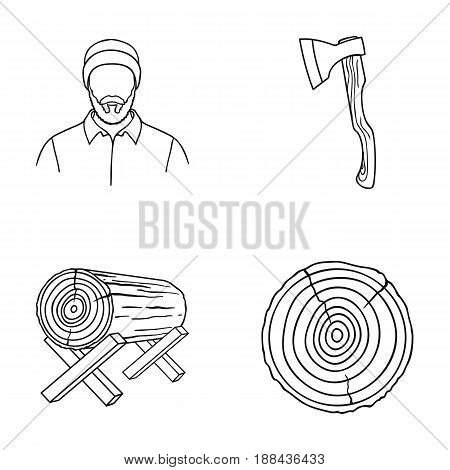 Carpenter, log on supports, ax, cut logs. Sawmill and timber set collection icons in outline style vector symbol stock illustration .