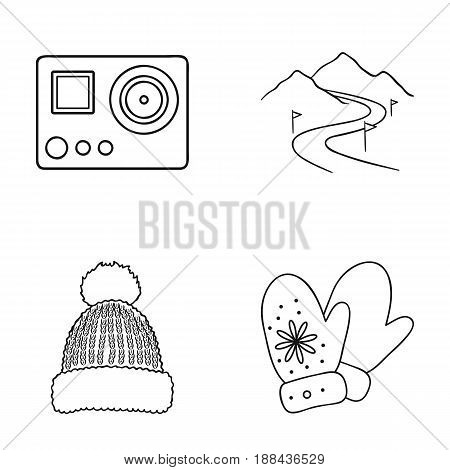 Mittens, warm hat, ski piste, motion camera. Ski resort set collection icons in outline style vector symbol stock illustration .