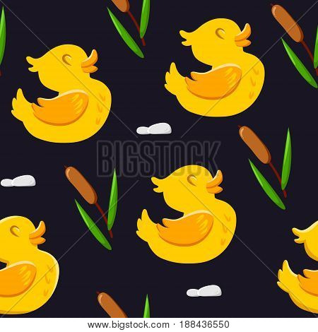 Seamless pattern with cute ducks and reeds. Ornament for textiles and wrapping. Vector background.