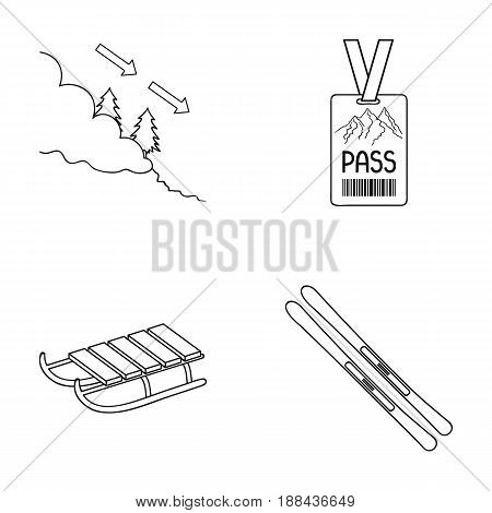 Ski, sled, lifeguard badge, badge avalanche. Ski resort set collection icons in outline style vector symbol stock illustration .