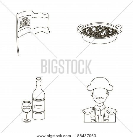 Flag with the coat of arms of Spain, a national dish with rice and tomatoes, a bottle of wine with a glass, a bullfighter, a matador. Spain country set collection icons in outline style vector symbol stock illustration .