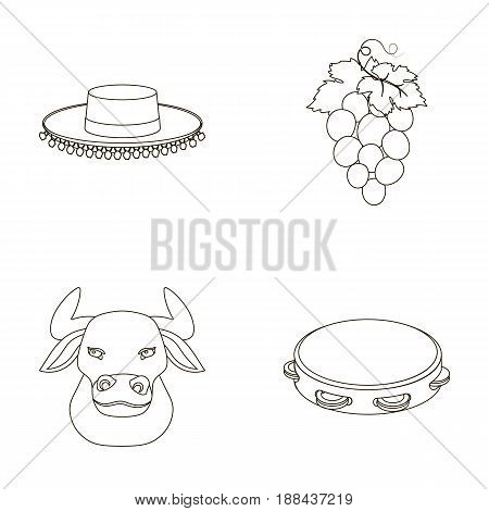 The hat of the todeador, the matador, a bunch of grapes with fists, a bull for the Spanish bullfight, a tambourine. Spain country set collection icons in outline style vector symbol stock illustration .