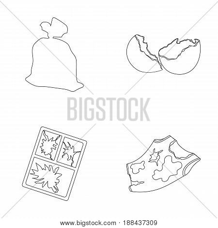 A garbage bag, a broken egg shell, a torn dirty T-shirt, a broken window frame with glass.Garbage and trash set collection icons in outline style vector symbol stock illustration .