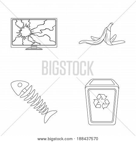 Broken TV monitor, banana peel, fish skeleton, garbage bin. Garbage and trash set collection icons in outline style vector symbol stock illustration .