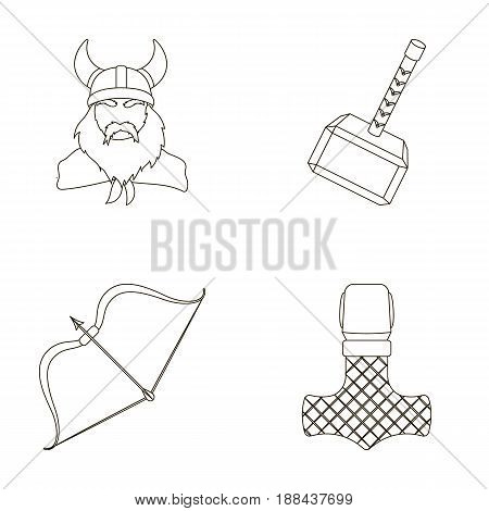Viking in helmet with horns, mace, bow with arrow, treasure. Vikings set collection icons in outline style vector symbol stock illustration .