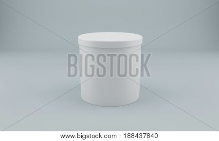 White round 3d package box for products. Over gray background. 3D rendering.