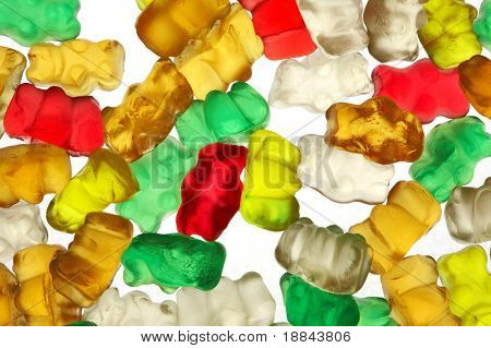 Gummi-bears on white background