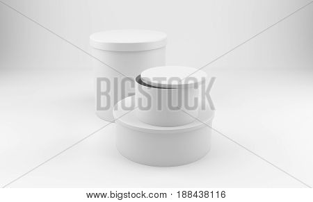 White round 3d package box for products. Over white background. 3D rendering.