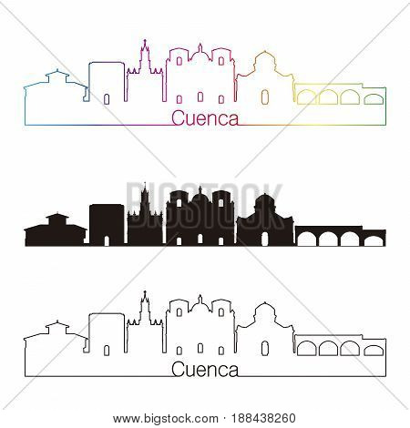 Cuenca Ec Skyline Linear Style With Rainbow