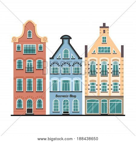 Set of 3 Amsterdam old houses cartoon facades. Traditional architecture of Netherlands. Colorful flat isolated illustrations in the Dutch style.