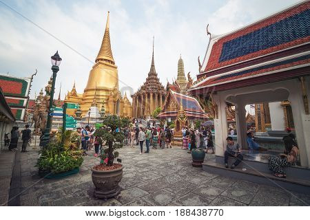 Bangkok, Thailand - January 13th 2017: The Wat Phra Kaew or Emerald Buddha Temple in the Grand Palace Temple Complex in Bangkok.