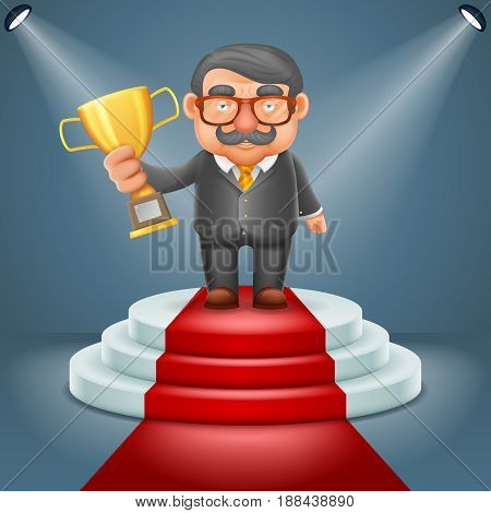 Businessman hold prize win award hand light podium stage ceremony illuminated 3d cartoon design vector illustration