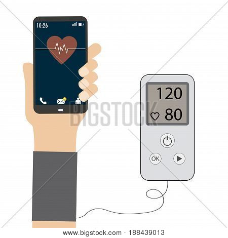 High blood pressure concept , measuring blood pressure.Smart phone in hand. Isolated on white background, Stock vector illustration