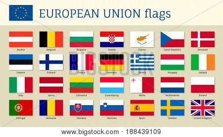 European union big set flags, twenty eight, 28 EU member countries, political and economic union in 2017, single market and free movement. Vector flat style illustration