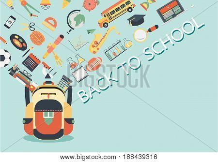 School stuffs flowing into school bag. Back to school concept for backgroundbannerposter and design element. Vector illustration