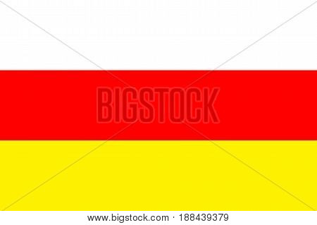 Flag of South Ossetia - partially recognised state. Patriotic south ossetian national sign. Symbol of territory on South Caucasus. Vector icon illustration