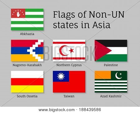 Set of flat flags of non-un states: Abkhazia, Kashmir and Northern Cyprus, Nagorno-Karabakh, Palestine and Taiwan. Collection with 7 signs. Vector isolated icons