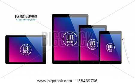 tablet mockup set with colored screen isolated on white background. stock vector illustration eps10