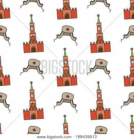 Seamless pattern with Kremlin and  hat with ear flaps.On white background. Vector illustration