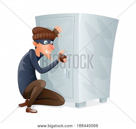 Evil Insidious Cruel Thief Tries Open Safe Strongbox with Values Steal Character Icon Cartoon Design Vector Illustration