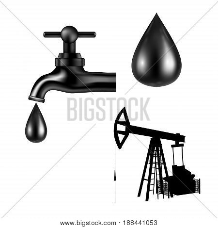 Vector black tap with oil drop on white background. Petroleum rig silhouette. Isolated icon. Vector illustartion.