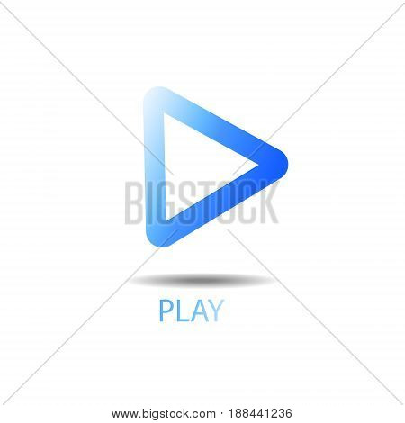 Play button vector illustration blue gradiante abstract background