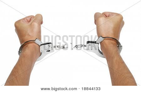 Hands and breaking handcuffs isolated on white background