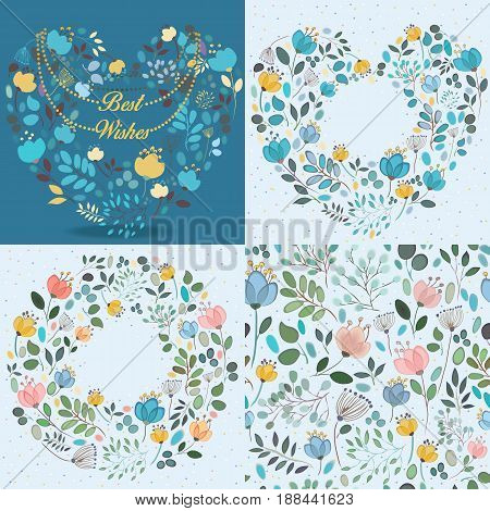 Blue watercolor floral patterns. Heart with silhouettes of flowers necklace and text Best wishes. Heart and ring with places for custom texts. Seamless pattern. Watercolor effect