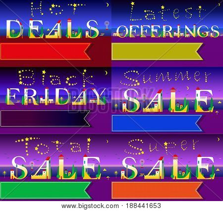 Cards with texts for retail. Night beach. Hot deals. Latest offerings. Summer sale.. Total sale. Black friday. White houses on the coastline. Stars in the sky. Banners for custom text. illustration