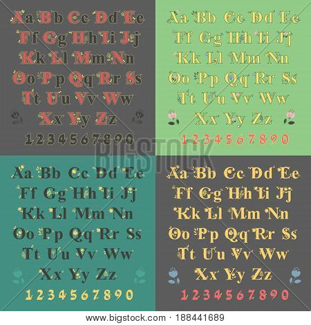 Artistic bucolic alphabets with floral decor. Black font with yellow decor. Yellow font with watercolor flowers. Bright numerals. illustration