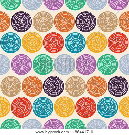 Seamless circles vector pattern. Colorful abstract rose ornament