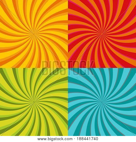 Spiral starburst, sunburst background set. Lines, stripes with twirl, rotating distortion effect. Red, yellow, green and blue colors. Vector illustration