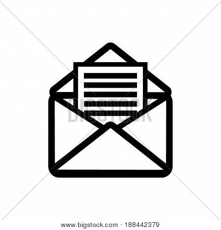 Opened envelope with letter inside. Receive mail icon.