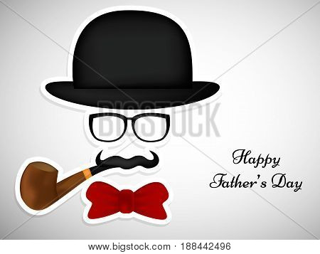 illustration of elements of hat, spectacles, smocking pipe, bow, mustache with happy father's day text