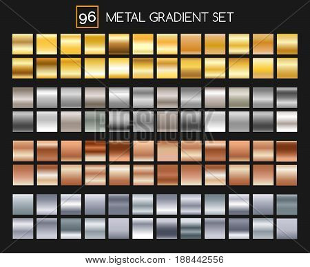 Metal gradient collection. Shiny gold and silver, bronze and aluminum, roseate texture gradients with reflexions. Vector illustration
