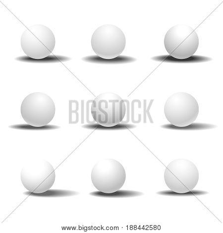 White sphere set with shadows. 3d balls under light vector illustration