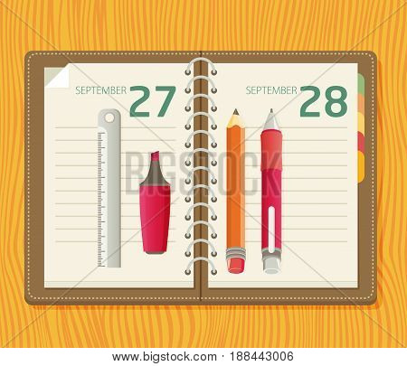 Illustration With A Notepad, Pencil, Marker, Ruler And Pen Lying On A Table In Flat Style
