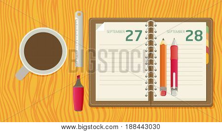 Flat Lay Illustration With A Notepad, Pencil, Marker, Ruler, Pen And Coffee Lying On A Table In Flat
