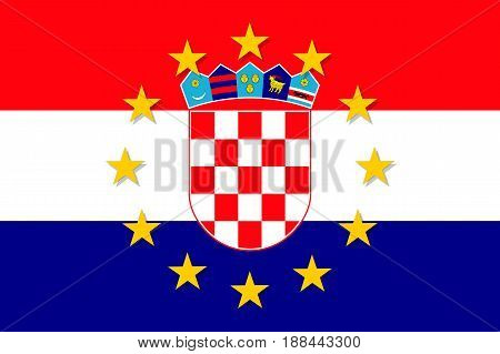 Croatia national flag with a circle of European Union twelve gold stars, political and economic union with EU, member since 1 July 2013. Vector flat style illustration