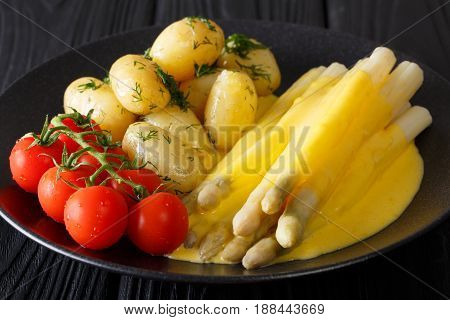 Asparagus With Hollandaise Sauce, New Potatoes, Greens And Fresh Tomatoes Close-up. Horizontal