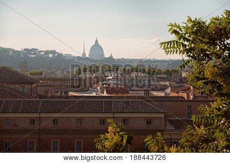 Sunset over the city in summer, view of the Vatican, Rome, Italy, Europe
